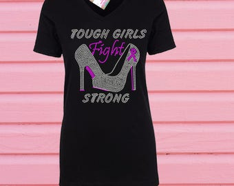 Rhinestone Breast Cancer Tough Girls Fight Tshirt