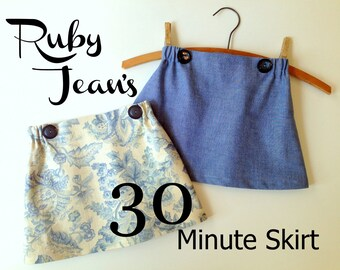 Ruby Jean's 30 Minute Skirt - Girl's  Skirt PDF Pattern. Girl Sewing Pattern. PDF Pattern. Toddler Pattern. Sizes 1-10