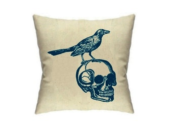 Raven Skull Pillow Bird and Skulls Throw Pillows Edgar Allan Poe Decor Housewares Cushions Accent Cute Halloween home