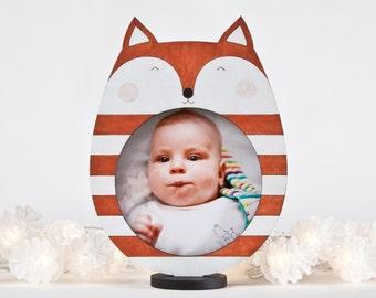 Orange Picture Frame, Dorm Decor, Baby Shower Gift, Fox Photo Frame, Orange Nursery Decor, Newborn Gift, Children Picture Frame, Baby Gift