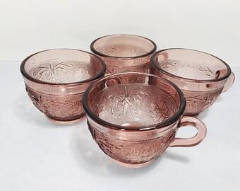 Vintage Tiara Glass Amethyst Tea Cups, Set of 4, Indiana Glass Sandwich Pattern Tea Cups, Tiara Purple Glass Cups, Vintage Kitchen Tea Cups