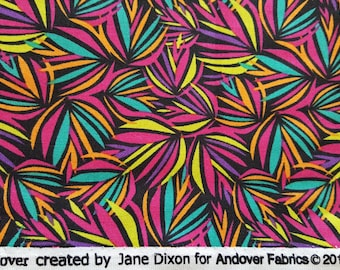 Bright Turquoise, Fuchsia, Purple, Yellow & Coral Leaves Fireworks Pine Needles ~ Andover Fabrics - Sold by the Yard