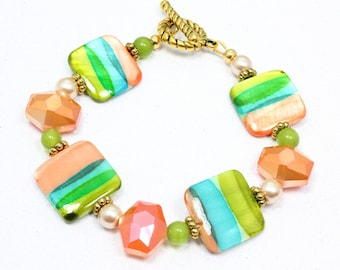 Square Shell Bead Bracelet, Beach Jewelry, Multicolor Striped Bracelet, Tropical Colors, Shell and Crystal Bracelet, Spring Fashion