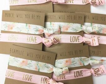 Bridesmaid hair tie favors//hair tie cards, hair tie favors, bachelorette party, party favor, wedding