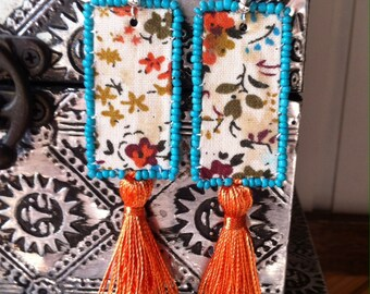Tassel earrings, colourful earrings, boho earrings, gypsy earrings, textile earrings, unusual earrings, hippy earrings, floral earrings