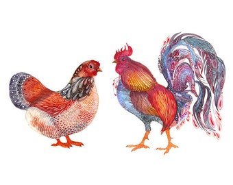 Hen and Rooster, lacy home animals art print, size 10'x8'/A4 (No. 38)