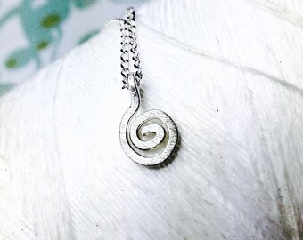 Sterling Silver - Spiral necklace / silver swirl necklace  / silver circle charm / circle necklace / delicate necklace /sterling charm