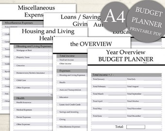 Monthly Budget Planner Printable A4 Financial Planner, Printable Monthly, Monthly Financial Planner Printable Planner Page, INSTANT DOWNLOAD