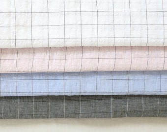 """Double Gauze Fabric by the yard Check Pattern_White, Pink, Sky, Charcoal_57"""" wide SAM 147975"""