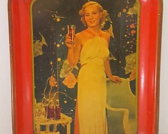 Vintage 1935 Madge Evans Coca Cola Tray