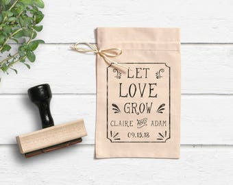 Let Love Grow Stamp - Wedding Favor Stamp - Seed Packet Favor Stamp- Seed Bag Favors - Custom Wedding Stamp- Custom Wreath Stamp- Tag Stamp