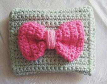 Handmade mint crochet coin purse / free shipping