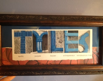 Framed Personalized Name Photo Word Art