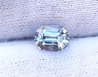 Loose Emerald Cut   White Sapphire   With Very Slight Blue Tint   7.11mm   1.32 Carat   VS