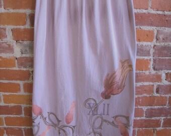 Blue Fish Purple Vintage Cotton Skirt|Wearable Art Lagenlook Clothing|Fiber Art Boutique|Vintage Clothing|Up cycled Recycled Clothing