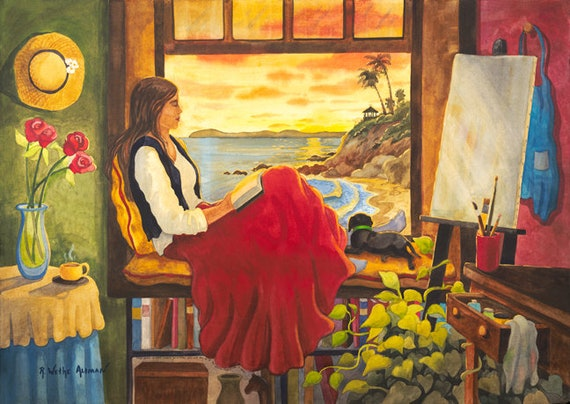 Laguna Beach, Painting of artist, Woman Artist, Woman with Dog, Dog Lover, Woman in the window, Reading, Woman Reading, Girl Reading, Artist