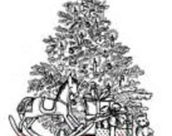 Deep Red Rubber Cling Stamp Season's Greetings Holiday Christmas Tree