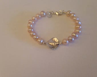 Pale Pink Freshwater Pearl with Feature Sterling Silver Hammered Disk Bead