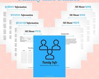Family Info Printable