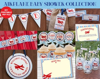 Airplane Baby Shower Decorations Package - Boy Baby Shower - DIY Printables - Personalized