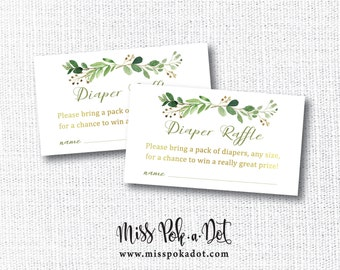 Greenery Diaper Raffle Card, Printable, Baby Shower, Insert, Ticket, Green, Gold, Boho, Rustic, Instant Download, Go Baby Go, Kentucky Derby