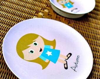 Personalized Kids Plate Set - Custom Kidlet SET (plate and bowl) Personalized Melamine Plate for Kids