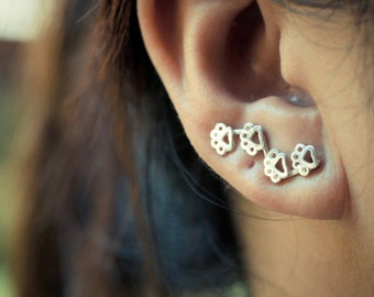 Paw Prints Sterling Silver Ear Climbers