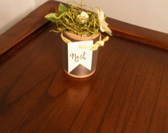 Spring Nest with Miniature Robbin's Eggs on Vintage Spool with Leaves and Flower