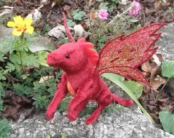 Dragon - Crimson Fire, Miniature red fairy dragon