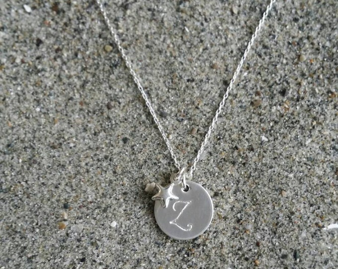 Monogram Necklace, Star Necklace, Sterling Silver, Initial Necklace, Star Initial Necklace