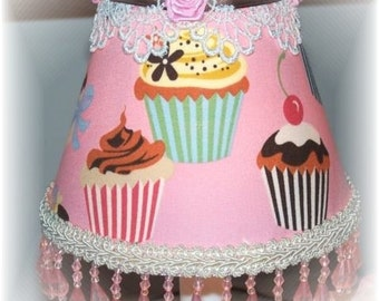 NEW Sweet PINK CUPCAKES Mini Accent Lampshade for your Lil' Girls Room or Sweet Decor
