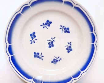 Large plate/flat old retro vintage blue and white ceramic flowers VINTAGE french flat blue & white flowers
