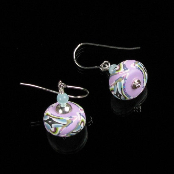Unique Silver Earrings, Pink Blue Polymer Clay Earrings, Colorful Boho Earrings, Unique Handmade Art Jewelry Unique Gift for Women, Wife