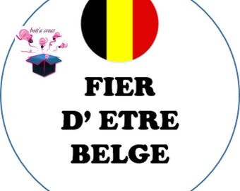 1 cabochon clear 18 mm Belgian flag theme