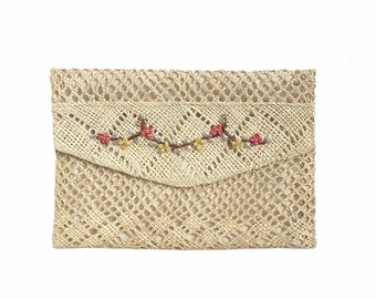 Natural Floral Straw Clutch