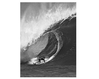 Surfing Photo:  Surf Photography Fine Art Print Print on Metal, Canvas or Paper. Black and White Print of a Surfer on a Wave in Hawaii
