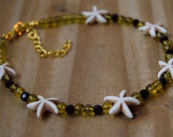 Starfish Anklet, Beaded anklet, Beach Anklet, Crystal Anklet, Womens anklet, girlfriend gift, holiday gift for her, extendable anklet