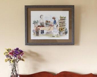 Original Farmers' Market Illustration in Rustic Wood Frame. Home Decor, Art, Original Painting, Watercolor.