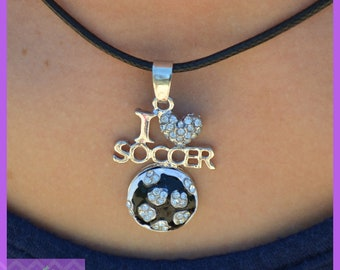 "Soccer Team Gift - Soccer Gift - Girls Jewelry - I ""Heart"" Soccer Necklace - Soccer Coach - Coaches Gift - Soccer Mom - Team Gift - Soccer"