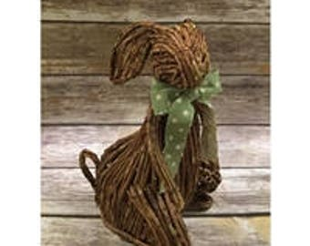 """14"""" Rustic Farm Bunny With Polka Dot Bow, Easter, Spring, Natural, Home Decor"""