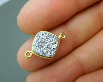 Druzy Double Bail Connector Charm Pendant-- 10mm Platinum Color Druzy Connector in a Gold Plated Square Bezel (S41B9-12)