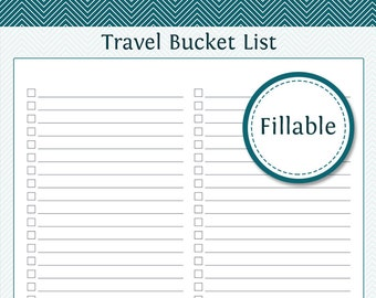 Travel Planner: Travel Bucket List - Fillable - Instant Download - Printable PDF  - Vacation Planner