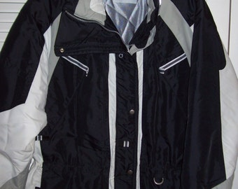 Jacket XL,  Larry Levine Ski Jacket With Hood  All Features Quilted Lining, Zippered Pockets, XL