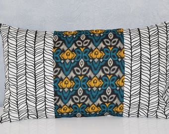 Pillow cover - 50 x 30 cm - printed fabric flowers geometric and graphic - mustard, teal, grey, black