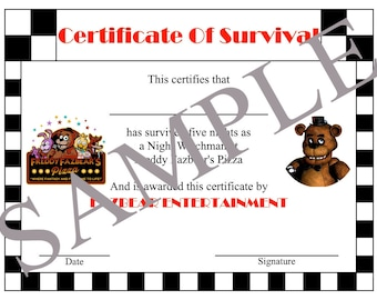 Five Nights At Freddy's Certificate Of Survival, Party Favors