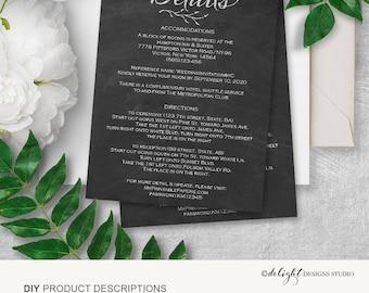 Details card, wedding details card, information card wedding, accommodation card, direction card, wedding enclosure card, printable, PDF