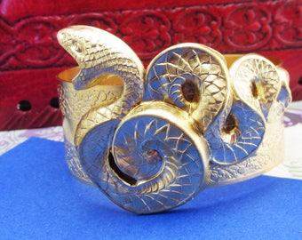 Snake bracelet Egyptian revival Serpent cuff snakes bracelet brass with gold snakes bracelet MyElegantThings