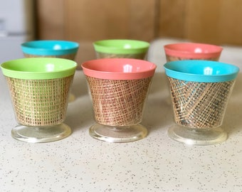 Vintage Raffiaware Dessert Cups in Pastel Colors, Set of Six Raffia Ware, Like New