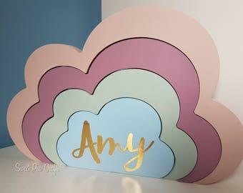 Stacking Clouds, Bedroom Decor, Personlised Gift, Nursey Decor, Shelfie, Pastel, Rainbow, Monochrome, Modern