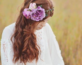 Purple Trio Handmade Flower Crown
